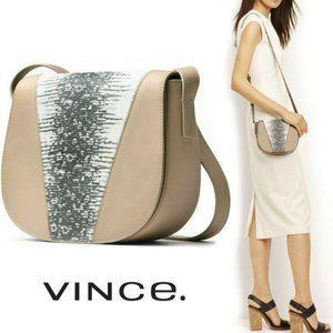 Vince Lizard Embossed Leather Crossbody Bag